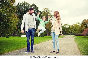 happy family walking in summer park and having fun - family,...