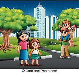 Happy family walking in the city road