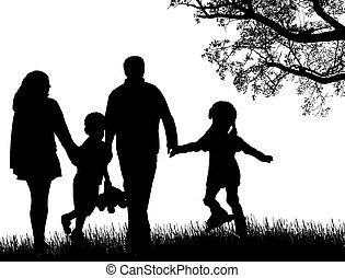 Happy family walking on beautiful landscape, vector...