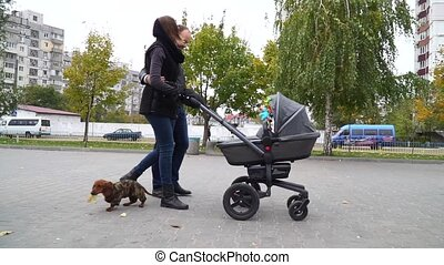 Happy family walking with a baby stroller in the park