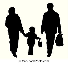 Happy family walking with shopping bags