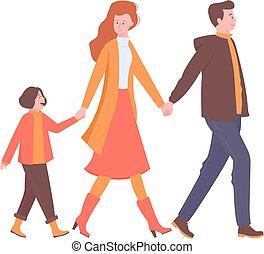 Happy family walks, holding hands.