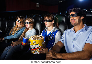 Happy Family Watching 3D Movie