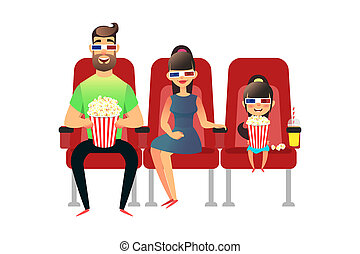 Happy family watching movie in the cinema. Mom, Dad and daughter in 3d glasses. A man, a woman and a girl sit on the seats and watch the premiere with popcorn and drinks. Group of people watch.