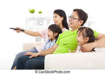 happy Family watching tv
