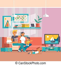 Happy family watching tv vector flat illustration