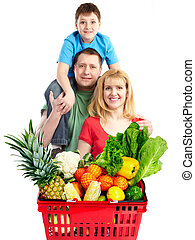 Happy family with a grocery shopping basket.