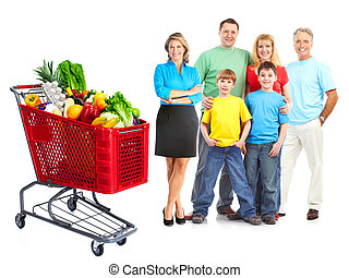 Happy family with a grocery shopping cart.