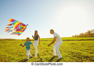 Happy family with a kite playing in the field in nature