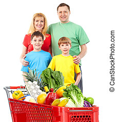 Happy family with a shopping cart.