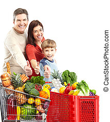 Happy family with a shopping cart. Isolated over white...