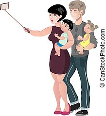 Happy family with baby making selfie