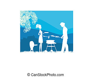 Happy family with barbecue outdoors
