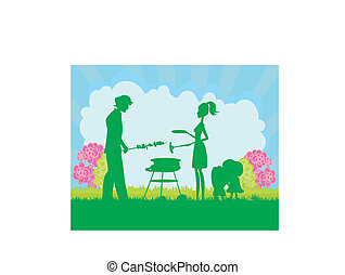 Happy family with barbecue
