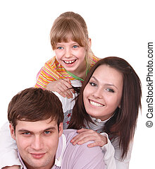 Happy family with child.
