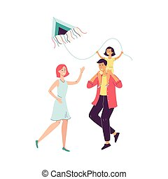 Happy family with child launching a kite flat vector illustration isolated.