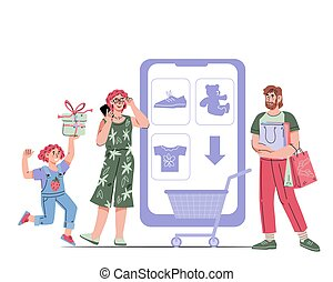 Happy family with child shopping and buying online, cartoon vector isolated.