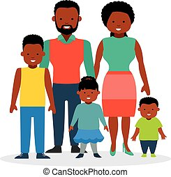 Happy family with children, a daughter and two sons.