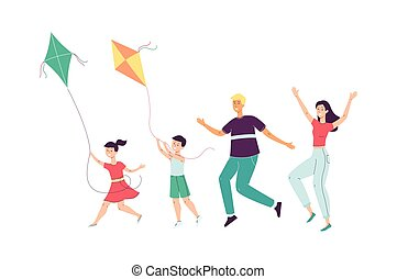 Happy family with children launching a kites, flat vector illustration isolated.