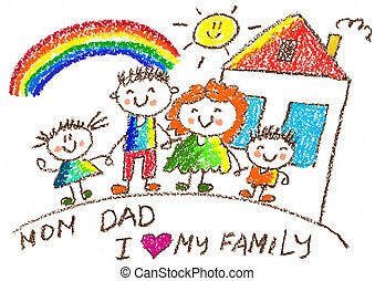Happy family with children. Mother, father, sister, brother. Kids drawing style illustration.