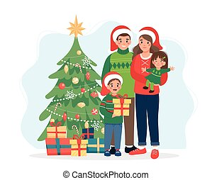 Happy family with christmas tree. Cute vector illustration in flat style