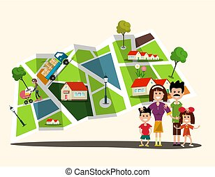 Happy Family with City Map on Background. Flat Cartoon.