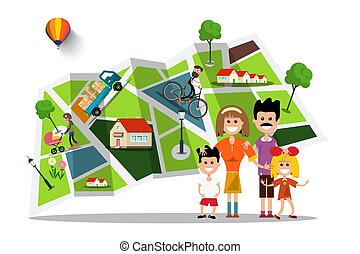 Happy Family with City Map on Background. Flat Design Vector Smbol.
