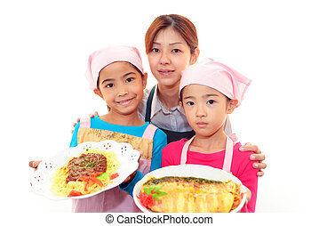 Happy  family with foods