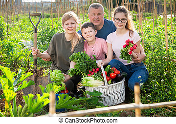 Happy family with fresh harvest in backyard garden - ...