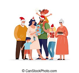 Happy family with gifts in santa hats. Children, parents and grandfathers are preparing for the New Year s carnival. Big family together on a holiday. Cartoon vector illustration.