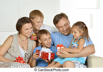happy Family with gifts