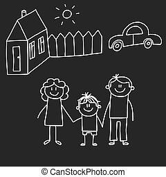 Happy family with house. Kids drawing style vector illustration isolated on blackboard background. Mother, father, sister, brother.
