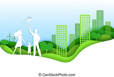 Eco city concept  people happy in urban city  paper art and
