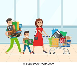 Happy Family with Kid Shopping in Supermarket