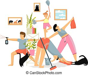 Happy family with kids cleaning together house, homemaking, ...