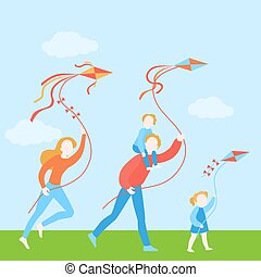 Happy family with kids fly a kite together. Funny summer activity. Vacation and holiday with children.