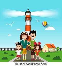 Happy Family with Lighthouse on Background. Seashore Vector Flat Design Landscape.