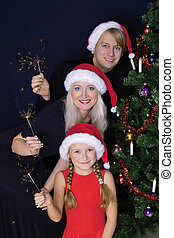 Happy family with lights