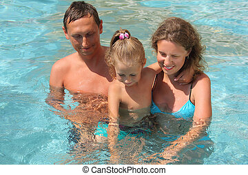 happy family with little girl plays in pool