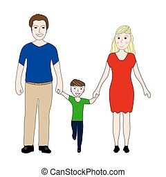 happy family with little son Mom and Dad on a white background