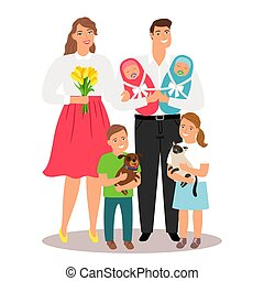 Happy family with new born twins and pets vector illustration