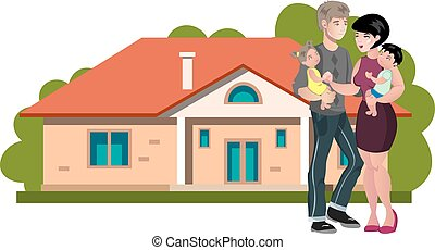 Happy family with new his home.