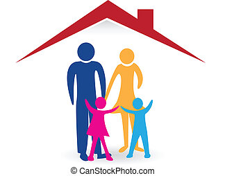 Happy family with new house logo