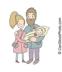 Happy family with newborns. Mom, dad and kids on a walk. Cute cartoon couple and baby