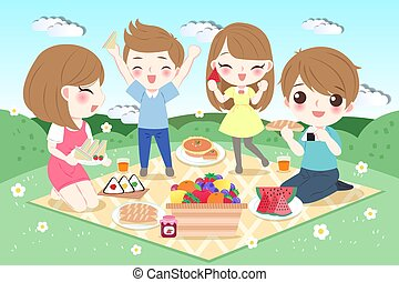 happy family with picnic