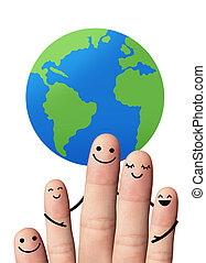 Happy family with the earth, isolated with clipping paths.