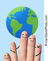 Happy family with the earth, travel, environmental protection