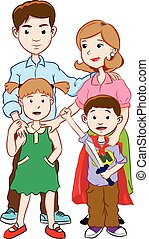 Happy family with two children, cartoon vector
