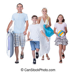 Happy Family With Two Children Ready For Vacation Isolated...