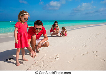 Happy family with two girls on summer vacation